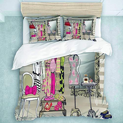 Bettbezug Set, Interieur Damen Kleiderschrank, Luxus Mikrofaser Daunendecke 3 Stück