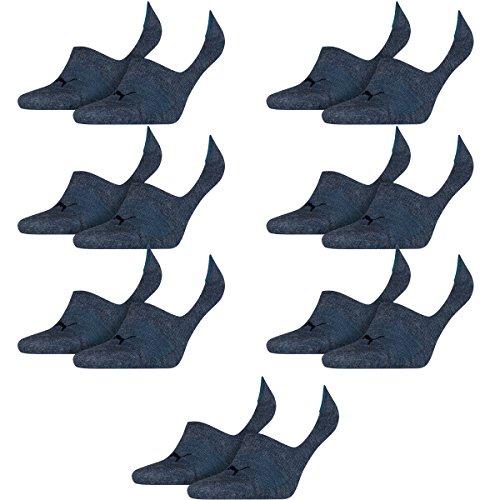 PUMA 14 Paar Socken Footie Sportsocken Invisible Gr. 35-46 Unisex, Socken und Strümpfe:39-42, Farbe:460 denim blue