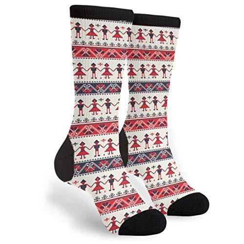 Unisex Fun Novelty Crazy Crew Socks Traditional Romanian Folk Motif Dress Socks