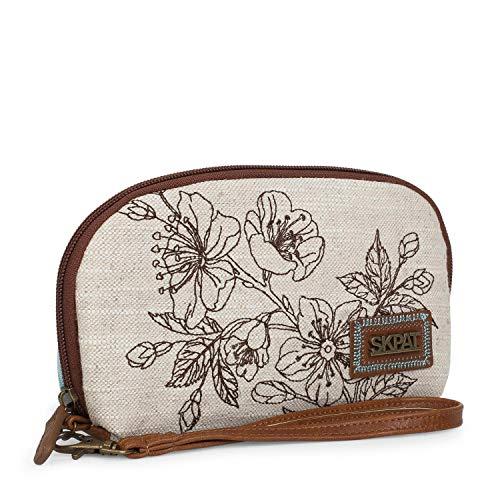 SKPAT - Bolso de Mujer pequeño de Mano con asa. Compartimentos y Ranuras par Tarjetas. Lona Estampada. pequeño y Calidad diseño y Marca. Ideal para Diario. 301608, Color Beige