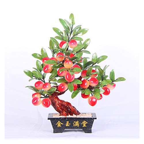 Xu Yuan Jia-Shop Bonsai Decorative Artificial Bonsai Tree Peach Tree Planta Artificial Fake Bonsai Tree para la Sala de Estar Oficina Hotel Decoración del hogar Jade Handicraft Ornaments Bonsai Tree
