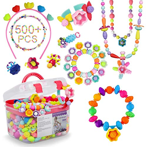 DIY Jewelry Making Kit Pop Beads, 500 Pcs Pop Snap Beads Set to Make Hairband, Necklaces, Bracelets, Rings and Art & Crafts Creativity Toys for Girls Boys