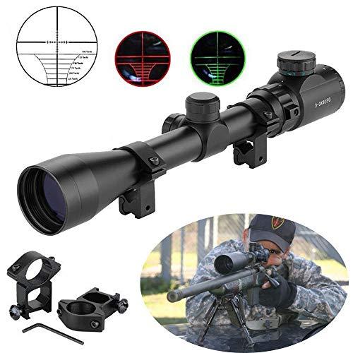 Aufun Zielfernrohr Luftgewehr Gewehrzielfernrohre mit Montage Schiene Montagen Rot Und Grün Punkt Visier Rifle Scope für Taktische Armbrust Jagd und Sport, 3-9x40EG-20mm