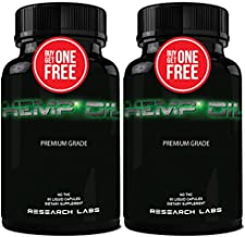 Research Labs 450,000 MG Premium Hemp Oil Capsules, Buy 1 GET 1 Free! 100% Organic All Natural, Worry Nervousness Pain Stress Support