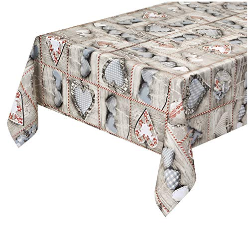 emmevi - Mantel antimanchas plastificado encerado Shabby Chic de madera blanca retro afelpado, 12 tamaños, cubre mesa de cocina a medida, mod. Favola 306
