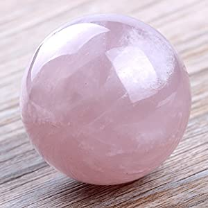 50mm Natural Carved Rose Quartz Ball Healing Crystal Sphere with Glass Base