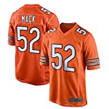 MILEXING Camiseta de fútbol americano al aire libre Rugby camisetas Khalil Bears NO.52 Naranja, Mack Chicago Game Jersey Transpirable Deportes Manga Corta Para Hombres