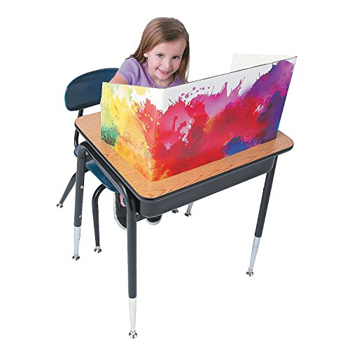 Watercolor Desk Divider and Study Carrel - Set of 6 - Educational and Learning Activities for Kids