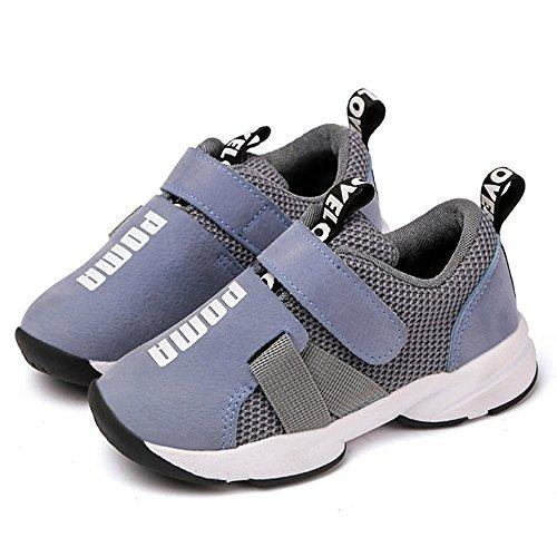 Daclay Zapatos niños Deportivo Transpirable y Transpirable con Parte Superior de Cuero cómoda con Zapatillas Velcro niña Sneakers Gris 26EU
