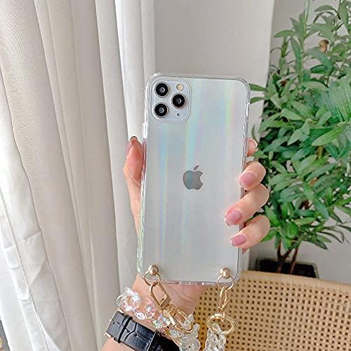 LIUYAWEI Estuches para teléfono con Pulsera de Cadena Transparente para iPhone 12 Pro MAX X XS XR 7 8 Plus 11Pro SE 2020 Carcasa Trasera Colgante de Cadena Transparente, T1, para iPhone 11Pro
