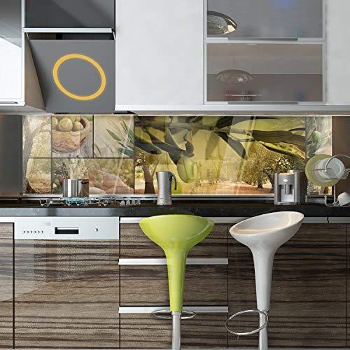 wandmotiv24 Küchenrückwand Oliven Baum Plantage Grün Hände Ernte 240 x 60cm (B x H) - Hartschaum 3mm Nischenrückwand, Spritzschutz, Fliesenspiegel-Ersatz, Deko Küche M1207