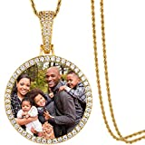 TUHE Hip Hop Jewelry Dog Tags Necklace with Custom Made Picture Pendant Gift for Men Women(Square/Round/Heart/Angel Wings)