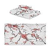 TropicalLife iRoad Juego de toallas de algodón 3 piezas de cerezo flor arte pintura altamente absorbentes toallas de mano toallas de baño juego de toallas de baño para cocina