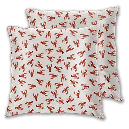 AEMAPE Fundas de Almohada cuadradas, Cangrejo Rojo, Paquete de 2 Fundas de cojín Decorativas, Fundas de Almohada para sofá, Dormitorio, Coche, 40 x 40 cm