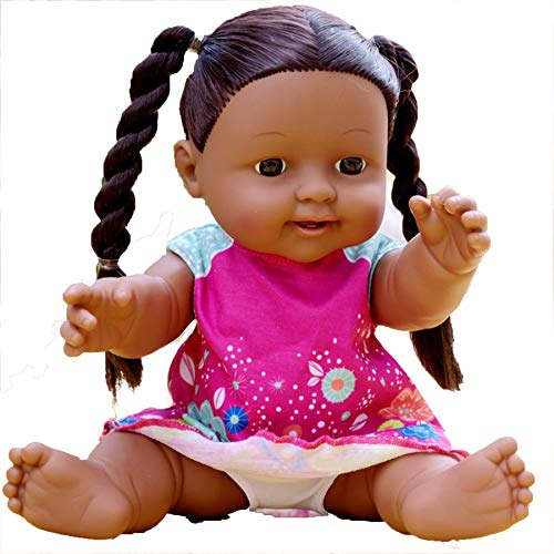 DPGPLP Muñeca de Renacimiento de Piel Negra de Pelo Largo, muñeca de simulación de Vinilo, Juguete para Madre y bebé, muñeca Africana Negra, Juguete Que se Puede bañar en Agua