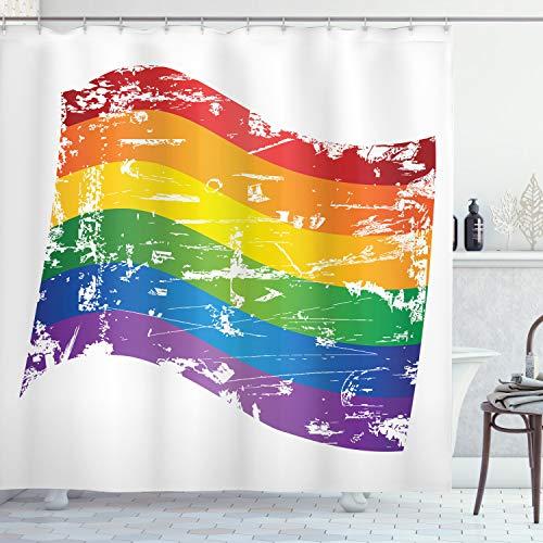 ABAKUHAUS Jahrgang Rainbow Duschvorhang, Gay-Pride-Flagge, mit 12 Ringe Set Wasserdicht Stielvoll Modern Farbfest & Schimmel Resistent, 175x180 cm, Mehrfarbig