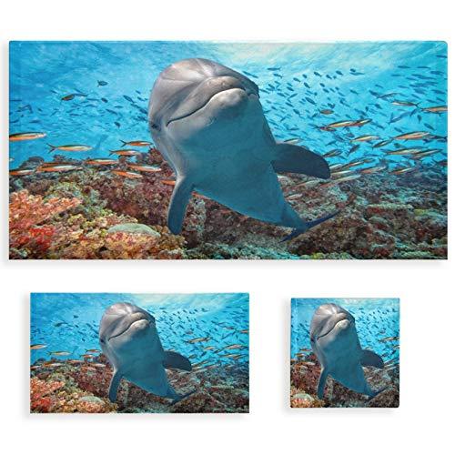 Naanle Juego de 3 toallas de baño con diseño de delfín de océano para baño, algodón altamente absorbente, toalla de baño grande+toalla de mano+toalla, paquete de 3 toallas de suavidad para decoración