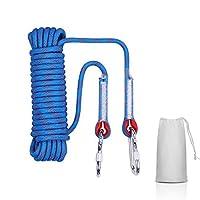 多用途ロープ 多機能ロープ 多目的ロープ 10mm 耐荷重1200kg 10M/20M/30M/ CE認証 テントロープ 防災 安全 アウトドア活動アクセサリー アウトドア キャンプ 防災 軽量アルミカラビナ付 収納袋付き一括収納可 (ブルー10mm, 20M)