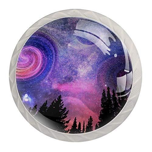 4 pomos de cristal para puerta de armario y cajones, tiradores de puerta de coche, diseño de cielo estrellado