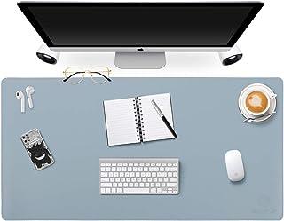 両面デスクパッドオフィスデスクマット、GOODYEP超薄型防水PUレザーマウスパッドデスクブロッタープロテクター、オフィス/ホーム用デスクライティングマット(80 x 40cm、ライトブルー/シルバー)