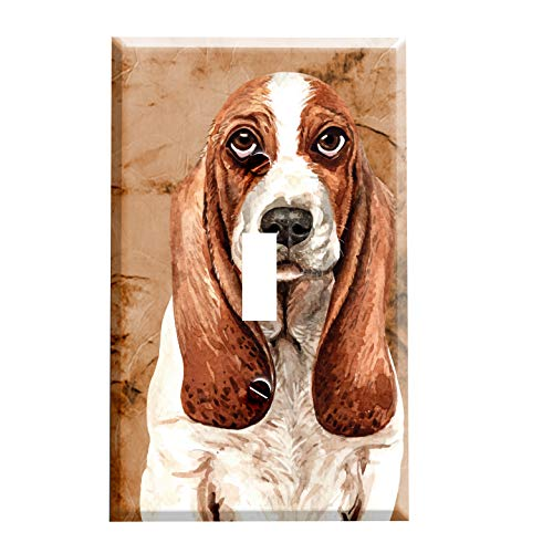 Gotham Decor Basset Hound Portrait Dog Breed - Light Switch Covers - Single Toggle Switch Basset Hound Dog Portrait