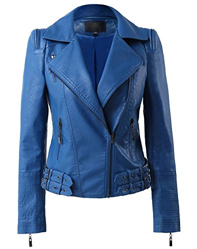 Beninos Womens Faux Leather Zip Up Moto Biker Jacket with Many Details (H102 Blue, M)