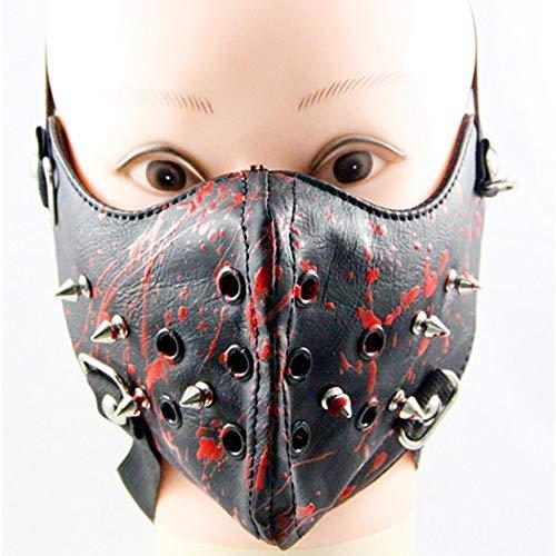 EDMISU Metal Studded Steampunk Leather Mask Biker Men Half Face Mask Airsoft Wind Cool Punk Rivets Black Masquerade Leather Mask
