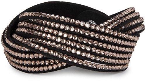 styleBREAKER weiches Strass Armband, eleganter Armschmuck mit Strassteinen, Wickelarmband, 6x1-Reihig, Damen 05040005, Farbe:Schwarz/Rose