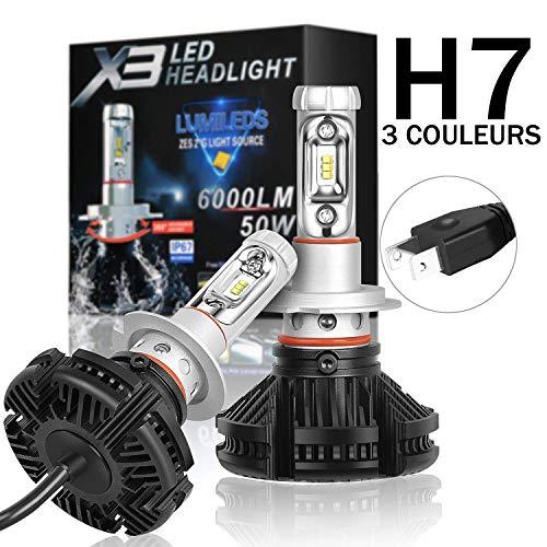 Kit de bombillas LED H7 3000 K 6500 K 8000 K blanco puro para coche, moto, 6000 lúmenes, faros de xenón, faros 50 W, Plug & Play, kit de conversión para coche moto IP67