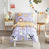 Joyreap 4 Piece Toddler Bedding Set, Cartoon Monkey Elephant Cow Lion Printed on Violet, Includes Quilted Comforter, Fitted Sheet, Top Sheet, and Pillow Case for Boys n Girls (Standard Size)