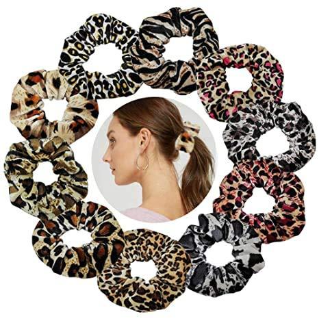 YKULEW, 10 Uds, Bandas para el pelo de leopardo, bandas elásticas de terciopelo con estampado de animales, bandas para el cabello para mujeres y niñas, accesorios para el cabello, 10 colores