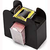 Sinwo 6 Deck Playing Card Shuffler, Automatic Card Shuffler - Battery-Operated Electric Shuffler - Great for Home & Use for Classic Poker & Trading Card Games (Black)