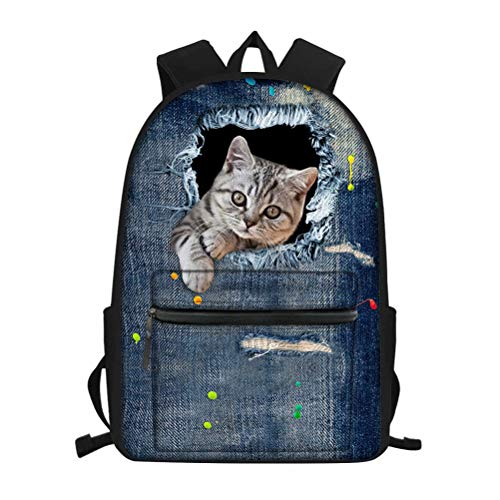 NDISTIN Womens Best Gift Lovely Cowboy Pet Cat Travel Business Work Rucksack Shoulder Bag Kids School Backpack Teen Durable Lightweight Hiking Bookbag Knapsack Outdoor Sport Casual Daypack Breathable