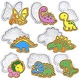 Set di 8 stampi per biscotti a forma di dinosauro, in plastica 3D, decorazione per torte di Halloween, Natale