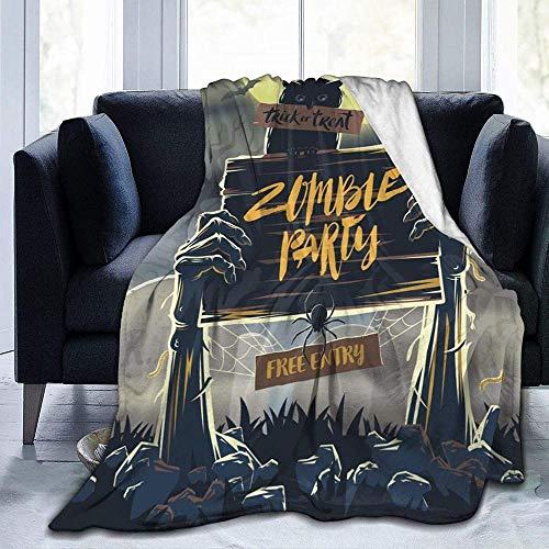 XYBHD Manta suave de terror para Halloween usada para camas, sofás, cálidas y cómodas, mantas ligeras de franela (hombres y mujeres)