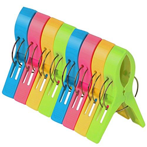 TRIXES Pack de 8 Grandes Playa Toalla Clips - Brillante Color - Plástico - Pinzas / Clavijas Para Tumbona