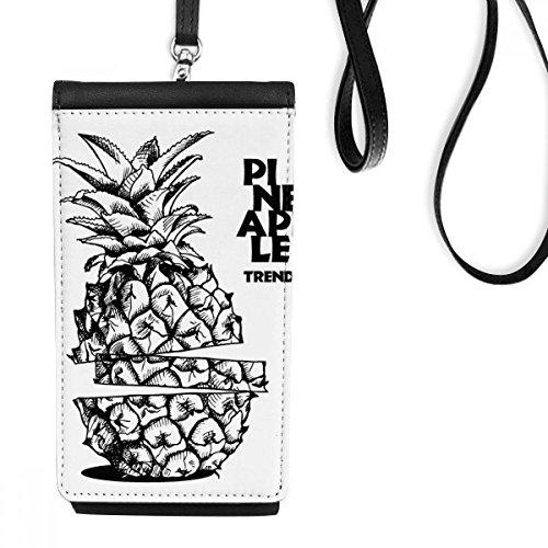 DIYthinker Pinapple Trend Fruit Line Tekening Kunstleer Smartphone Hangende portemonnee Zwart Telefoon Portemonnee Gift