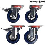 Forever Speed Ruedas Pivotantes de Transporte Ø 75mm Ruedas Giratorias para Carritos Muebles Con 2 Freno Negro/Azul Lote de 4 Soportan 70 kg por Rollo (Azul)