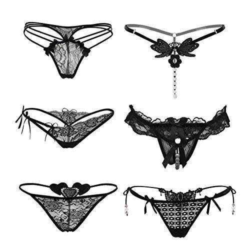 OZhenXiangZh Damen Sexy Strings Spitze Unterwäsche Soft Panties Hipster Damen Set Unterhosen Mehrpack Bequeme Unterwäsche 6er Pack Spitze Unterhose Unterhose Unterwäsche