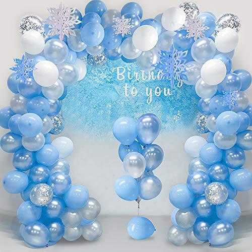 SPECOOL Schneeflocke Luftballons Girlande Arch Kit Blau & Weiß & Silber Latex Konfetti Ballons Pack für Hochzeit Geburtstag Baby Shower Bride Party Hintergrund Dekorationen