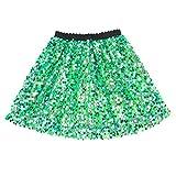 Flofallzique Girls Sequins Skirts Sparkle Skirt Kids Green Toddler Dance Dress Up(5, Green)