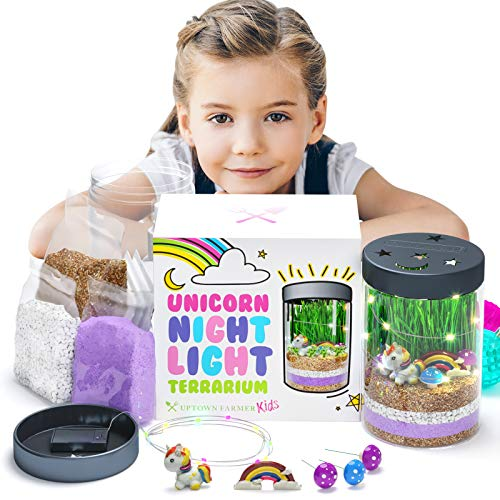 Uptown Farmer Kids: Unicorn Terrarium Kit - Unicorn Gifts for 7 Year Old Girls w LED Night Light - Unicorns Gifts for Girls - Unicorn Science Kits w USA Seeds + Soil - Arts and Crafts Gifts for Girls