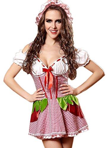 Bigood Cosplay Costume Maid Gothique Déguisement Adulte Halloween