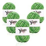 5 paquetes de lana acrílica,lana de ganchillo multicolor para tejer,paquetes de hilados de lana de ganchillo,paquetes de hilo de lana de color para decorar tarjetas,collage y proyectos 50 g Green