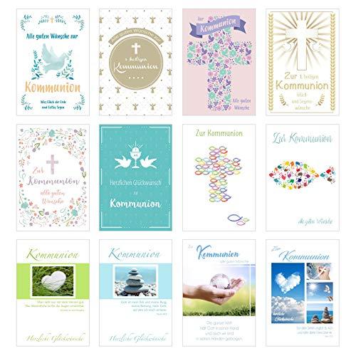 Edition Seidel Set 12 Premium Kommunionskarten mit Umschlag (Doppelkarten/Klappkarten mit Briefumschlag) Karte Postkarte Kommunion