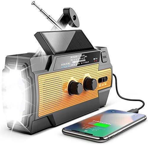 Newest Emergency Hand Crank Solar Flashlight Radio 4000mAh Portable NOAA AM FM Shortwave Weather product image