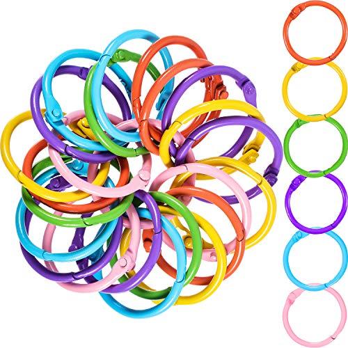 Boao Metal Loose-Leaf Rings, 1.2 Inch Paper Leaf Binder Rings, Notebook Rings Keychains Keyrings, 60 Counts (Pink, Green, Purple, Blue, Yellow, Orange - 6 Colors)