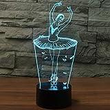 3D Lámpara óptico Illusions Luz Nocturna, EASEHOME LED Lámpara de Mesa Luces de Noche para Niños Decoración Tabla Lámpara de Escritorio 7 Colores Cambio de Botón Táctil y Cable USB, Bailarín