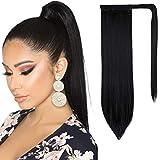 Ponytail Extension Wrap Around Ponytail Hair Extension for Women 20 Inch Black Long Straight Ponytail Extension Synthetic Clip in Ponytail Hairpiece (Dark Black)