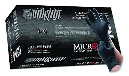 Microflex MK-296-XL MidKnight Black, Powder-Free Exam Gloves, XL, Nitrile (Pack of 100)